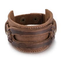 -Wide Leather Cuff Double Wide Bracelet and Rope Brown Bangles Fashion Rock Punk Man Bangle Vintage Wrist Wrap Unisex Wristband Jew on JD