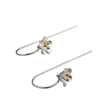 -Luo Linglong s925 sterling silver earrings earrings female gold plated five flower ear earrings earrings simple retro art Valentin on JD