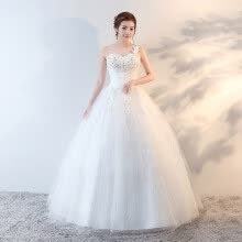 875061820-Ball Gown One Shoulder Floor Length Satin Tulle Wedding Dress with Flower by Embroidered bridal on JD