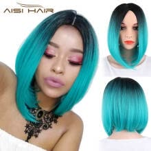 -AISI HAIR Synthetic Bob Wigs Short Straight Middle Part Wig Light Green Ombre Wig Heat Resistant Wig for Women Girls on JD
