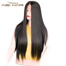 -AISI AHIR 26'Long Straigtht Black Lace Front Synthetic Wig with Baby Hair African American Braided Wigs for Women on JD