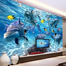 -HD Underwater World Deep-sea Fish Photo Wallpaper 3D Stereo Cartoon Mural 3D Kid's Room Living Room TV Sofa Backdrop Wall Decor on JD