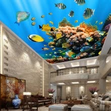-Custom 3D Photo Wallpaper Marine Life Fish Coral Ceiling Mural Living Room Bedroom Background Ceiling Wallpaper Wall Painting on JD