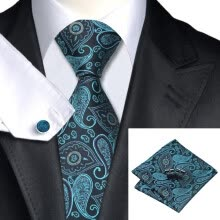 -N-0468 Vogue Men Silk Tie Set Green Paisleys Necktie Handkerchief Cufflinks Set Ties For Men Formal Wedding Business wholesal on JD