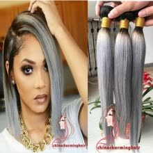-HOT Sale Top Grade Silky Straight Ombre Grey weave Human Hair Extensions 3 Pcs 1B Grey ombre human hair dark roots bundles on JD