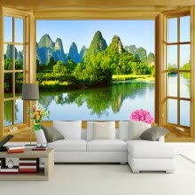 -Custom Wall Mural Wallpaper Room Window Natural Mountain Water Landscape Eco-friendly Non-woven Printed Wallpaper Wall Murals 3D on JD