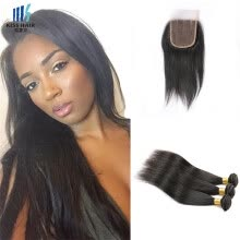 -kisshair silky straight hair bundles with closure virgin Indian temple hair extension 3 pieces/lot hair weft on JD