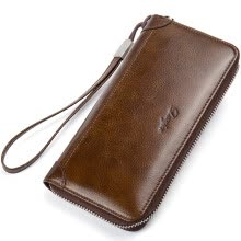 functional-bags-DANJUE Men Wallet Genuine Leather Male Purse Long Phone Bag Natural Cowhide Clutch Bag Trendy Fashion Card Holder Man Hand Bag on JD
