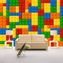 -Custom Size 3D Wall Murals Wallpaper For Living Room Lego Bricks Children's Bedroom Toy Store Non-woven Mural Wallpaper Decor on JD