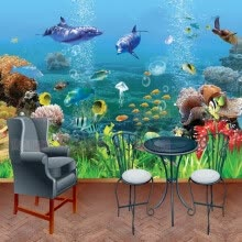 -Custom photo wallpaper 3D mural custom cartoon wallpaper ocean underwater world children's room TV background wallpaper mural on JD