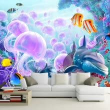 -3D Cartoon Underwater World Dolphin Fish Jellyfish Wall Mural Photo Wallpaper For Walls Custom Bedroom Wall Paper TV Background on JD