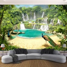 -Custom 3D Wallpaper Murals Waterfall Peacock Lake Landscape 3D Effect Living Room Sofa TV Background Wall Mural Photo Wall Paper on JD
