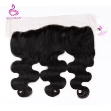 -Silkswan  Peruvian Body Wave Frontal 100% Human Hair 13x4 Lace Frontal Closure Remy Hair Natural Color Free Part on JD