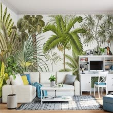-Custom 3D Wall Mural Wallpaper Tropical Rainforest Green Plants Hand-painted Oil Painting Living Room Sofa Background Wall Paper on JD