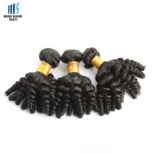 -kisshair 7A grade virgin Indian human hair bouncy curly Indian temple hair weft 3 pieces /lot hair bundles on JD