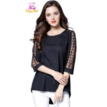875061819-L XL XXL 3XL 4XL 5XL plus size chiffon elegant summer 2018 plaid black blouse women large size 3/4 sleeve loose casual lady tops on JD