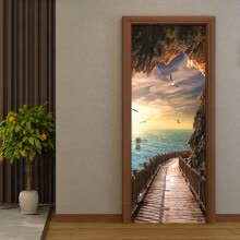 -3D Wallpaper Beautiful Seaside Landscape Photo Wall Door Mural Living Room Bedroom Creative DIY Door Sticker PVC 77cmx200cm on JD