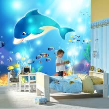 -Custom 3D Photo Wallpaper High-end Wall Mural Non-woven Cartoon Underwater Whale For Kids Bedding Room Sofa Wall Mural Wallpaper on JD