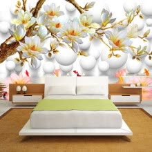 -Custom Photo Wallpaper 3D Stereoscopic Relief Magnolia Flower TV Background Wall Decor Mural Living Room Bedroom Wall Painting on JD