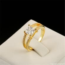 -High Quality 18K Gold Plated CZ Diamond Square Crystal Bijoux Fashion Wedding Engagement Women Rings   	R543 on JD