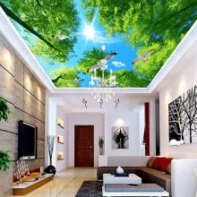 -High Quality Custom Mural Wallpaper Green Forest Sky Pigeon Ceiling Zenith Mural Living Room Background Ceiling Wallpaper Wall on JD