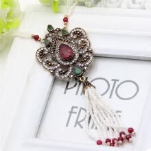 -New Style Turkish Women Necklace Ladies Beaded Tassels Necklace Arabesque Crystal Jewelry Sweater Chain Ethnic Festival Gift on JD