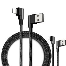 -Braided Metal Cord 90° Elbow Charger Sync Data Lightning Cable Fast Charging For iPhone X 8 6S 7 Plus 5 SE iPad Pro mini on JD