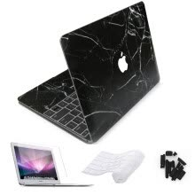 -New For Macbook Air Pro Retina 11 12 13 15 Laptop Sticker Black Marble Skin For Macbook Air 13 Skin Free keyboard Cover on JD