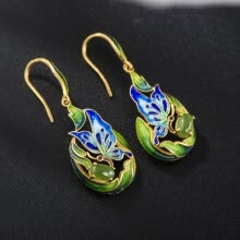 -925 Silver Jewelry Earrings Cloisonne Gold Plated Butterfly Design Jasper Emerald Sterling Silver Earrings on JD