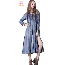 -M High Quality chest 88-96 cm vintage cotton autumn 2017 long dress women long sleeve blue jeans denim casual mid calf on JD