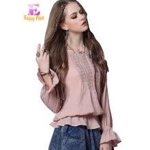 058e3bcf4b0 M L Кожа высокого качества 97-101cm Урожай хлопок новая осень 2017 длинный  рукав женщин блузка рубашка розовый белый с вышивкой эл