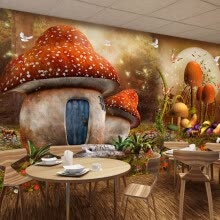 -Custom 3D Mural Wallpaper Cartoon Fairy Tale World Mushroom House Butterfly Flower Photo Background Children's Room Wallpaper 3d on JD