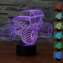 ceiling-lights-Big Size Grave Digger Monster Truck 3D Desk Lamp 7 Changeable Colors Night Light on JD