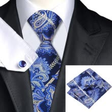 -N-0613 Vogue Men Silk Tie Set Blue Paisley Necktie Handkerchief Cufflinks Set Ties For Men Formal Wedding Business wholesale on JD