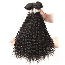 -T-top Hair Afro Kinky Curly Weave 100% Virgin Human Hair Bundles Natural Color Hair Extension 3 Pieces on JD