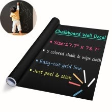 -DIY Chalkboard Decals Removable Washable Blackboard Wall Stickers for Refrigerator Kitchen Cabinets on JD