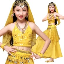 -Indian Sari Children Indian Dance 5-piece Costume Set (Top, Belt, Skirt and Head Pieces) Kids Bollywood Dance Costumes for Girls on JD