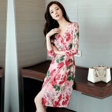 875061823-Sentimental 2018 spring new dress female Korean fashion lady temperament was thin sexy deep V chiffon floral dress zx201812208 color M on JD