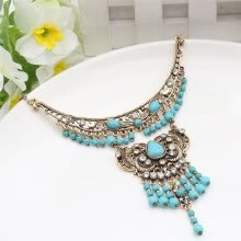 -Vintage Green Stone Necklace Ethnic Jewelry Turkish Antique Gold Color Flower Tassels Necklaces Indian Women Wedding Jewelry on JD