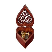8750202-Heart Shaped Vintage Wood Carved Mechanism Musical Box Wind Up Music Box Gift For Christmas/Birthday/Valentine's day, Melody Castl on JD