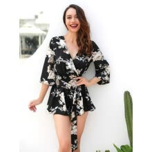 jumpsuits-rompers-overalls-Try Everything 2018 Black Summer Sexy Floral Print Sash Bow Tie Half Sleeve V neck Sexy Women  Elegant Short Jumpsuit on JD