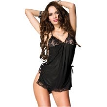 -CXSHOWE New Sexy Lingerie Women Perspective V Neck Bandage Lace Babydoll Costume irith Ring Erotic Sleepwear Set Black on JD