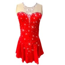 8750510-Big red figure skating show costume sleeveless skating skirt sparkling diamond girl's skate skirt on JD