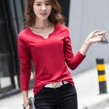cc247f81b9d 2018 весной и летом новый сплошной цвет V-образным вырезом футболки женщин  хлопка с длинными рукавами рубашки