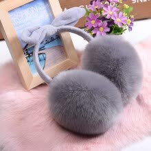 875062531-Lovely Rabbit Fur Winter Earmuffs Ear Cache Oreilles Warmers Winter Comfort Earmuffs Warm Winter Earmuffs For Women Girls on JD