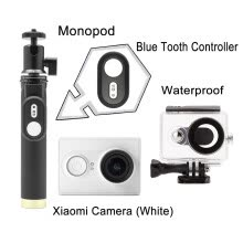 875072536-Xiaomi XiaoYi Sport Cam+Xiaomi Bluetooth 4.1 10M Remote Shutter Controller+Black Waterproof Case+Selfie Extendable Stick Monopod on JD