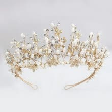 875062531-Elegant Wedding Crown Handmade Pearl Tiara For Bridal on JD