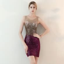 875065909-Sequin gradient  Round neck Sexy surrounds the hips Fashion knee length cocktail dresses on JD