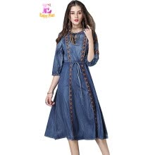 -S M L chest 92-100cm vintage cotton summer 2018 denim jeans long dress women half sleeve embroidery mid calf on JD
