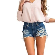 875061825-2018 Sexy Back Zipper Denim Shorts Distressed Ripped Blue Shorts Jeans Feminino Plus Size on JD